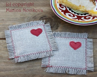 """Linen Coasters """"Valentine's"""" Set of 2. Natural Linen Cup Coasters. Ready to Ship"""