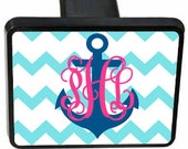 Personalized Trailer Hitch - Chevron with Anchor
