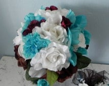 9 Piece Wedding Bridal Bouquet Roses Peonies White Turquoise Chocolate Brown Maids Bouquets Boutonnieres Toss Bouquet