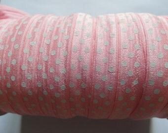"""10y Polka Dots foldover elastic 5/8"""" Headband FOE-Pink L015"""