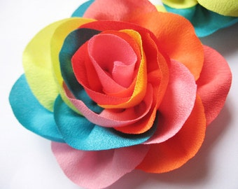 "5 Satin Silky Colorful 4"" Flower Bow D007"