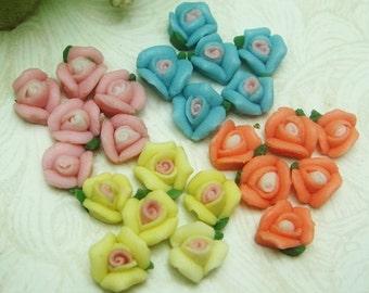 24pcs Mini  Rose Ceramic 6mm.Mix-Colour(R-01)