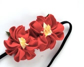 Red floral head band, flower headband kids eco-friendly