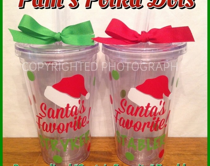 Personalized SANTA'S FAVORITE Christmas TUMBLER with First Name Clear Acrylic Tumbler Great Holiday Gift for Children Kids Anyone