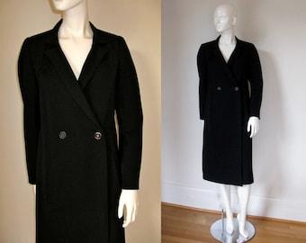 Vintage 1980s Chloe Black Wool Twill Double Breasted Long Jacket Coat Bust 38