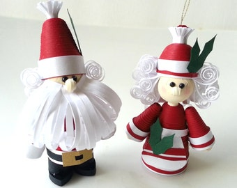 Santa Claus Christmas Ornament, Christmas Decor, Mr. and Mrs. Claus Set Paper Quilled Couple for Holiday Home Decor