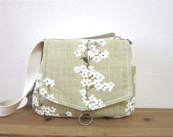 Linen floral messenger bag/ipad messenger bag/bridesmaid gift/Trending items/For her/More/Accessories/Spring fashion/bag/purse/linen bag