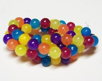 Natural Multicolor Jade, 6mm Jade Beads, Natural Stone Beads, Round Jade Beads