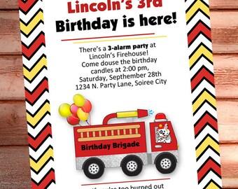 FIRE TRUCK INVITATION - Printable Fireman Birthday Invite - Personalized diy - Photo optional - Baby Shower invitation