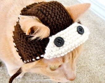 Aviator Costume for Cats - Hand Knit Cat Hat - Cat Halloween Costume