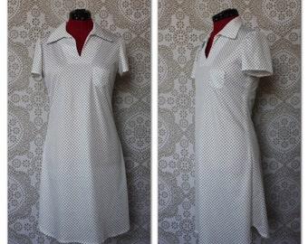 Vintage 1960's 70's White and Blue Polka Dot Mini Dress S/M