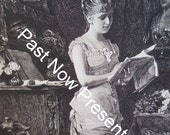 1883 Vintage Print Girl Reading by Franz Rumpler