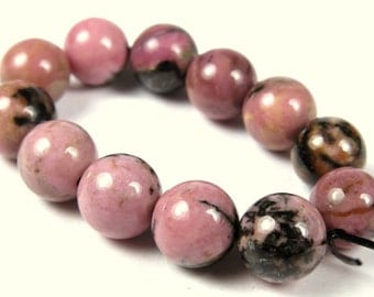 Dainty Rhodonite Round Bead - 8mm - 12 Pieces - A7423