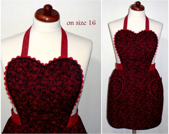 "50s-Style Sweetheart Apron ""Valentine Scroll"" Flirty Pin Up Apron, Sexy Apron,  one size fits most, made to order (not already sewn)"