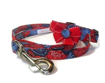 Blue and Red Bandana Dog Leash Set size Extra Small