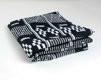 Head wrap: Kente Tribal print African head wrap, black and white