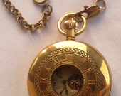 Jewelry Watches Pocketwatch Mens Moon Phase Pocket Watch Gold Tone Copper Two Way Open Classic Tourbillion Mechanical
