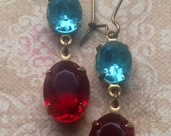 Vintage Earrings,  Swarovski Earrings, Red and Blue Earrings, Earrings for Women, Estate Style, Great Gatsby, Art Deco