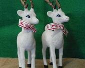 vintage reindeer figures, flocked white, Christmas