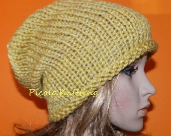 SALE !! Handmade Knitted Slouchy Beanie, Winter Chunky Hippie Cap, Hipster Cap, Boho Hat,  Gift under 30