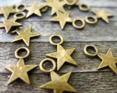 25 Bronze Star Charms 11mm