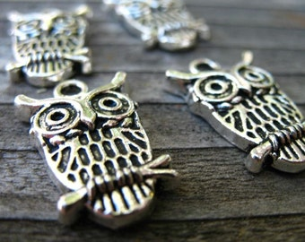 16 Antiqued Silver Owl Charms 23mm by 15mm Nickel Free