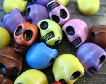 18 Acrylic Skull Beads Mixed Colors Sugar Skulls 13mm