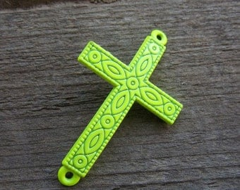 3 Neon Yellow Cross Connectors 4.3cm
