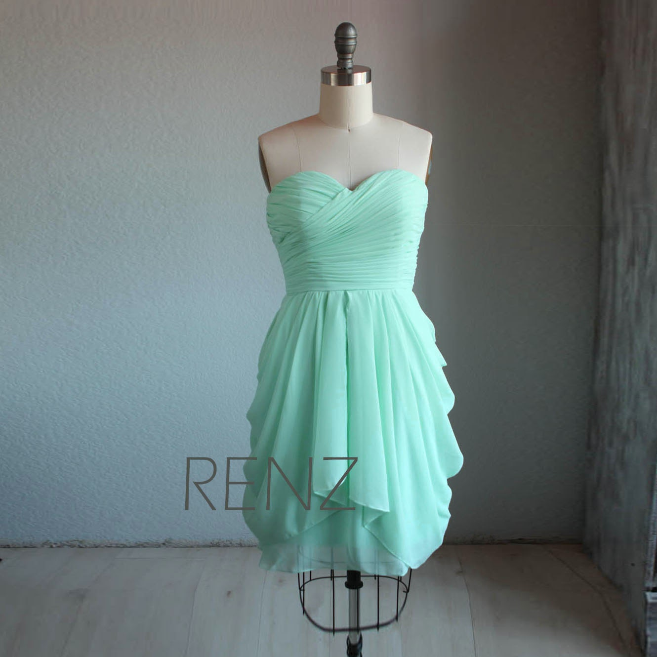 Bridesmaid Dresses: Bright Mint Bridesmaid Dress Short Wedding Dress Strapless
