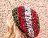 CLEARANCE Tweed Olive Claret and Stone Slouch Beanie for Men or Women Knit Striped Hat