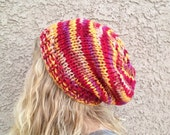 CLEARANCE Variegated Slouch Beanie in Ginseng for Men or Women Knit Hat