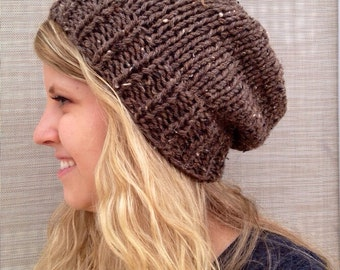 Tweed Brown Barley Slouch Beanie for Men or Women Knit Hat