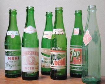 antique clear and green bottles, soda bottle with original advertisments, spring window dressing, wedding decor, americana, bud vases