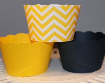 Navy and Yellow Chevron Cupcake wrappers