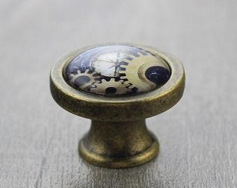 Steampunk Glass Cabochon Bronze Cabinet Dresser Knobs Pull / Dresser Pull / Cabinet  Knobs / Furniture