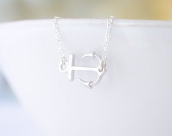 Silver Side Anchor Necklace - Rose Gold, Gold, Silver Anchor - 1222