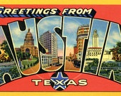 Greetings from Austin - 10x16 Giclée Canvas Print of a Vintage Postcard