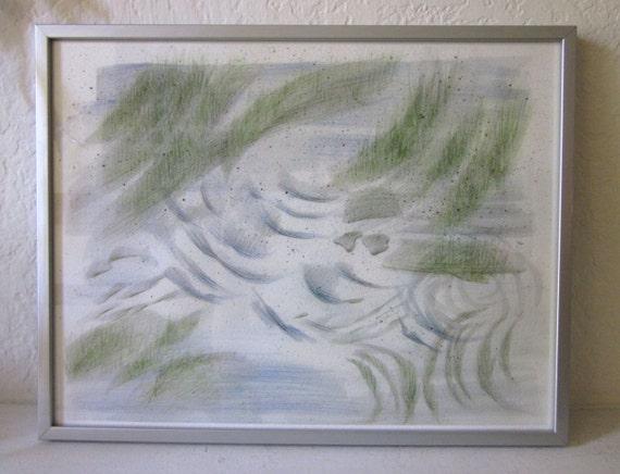 Cressida. Abstract river landscape, Giclée art print, green, gray, blue, modern wall art