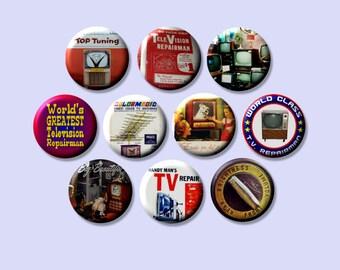 "TV vintage Television Repairman RETRO 10 Pinback 1"" hand pressed Buttons Badges Pins"