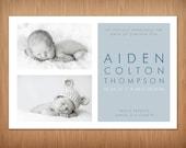 baby boy custom photo birth announcement - breathe