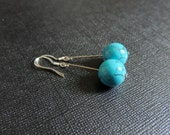 Large turquoise bead sterling silver earrings