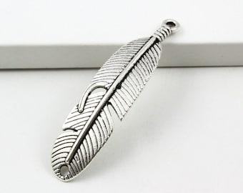 20Pcs Antique Silver Feather Charm Feather Pendant 45x11mm (PND743)
