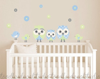 Owl Wall Decal, Bird Wall Decals, Owl Fabric Wall decal, Peel Stick decals for Baby Nursery, Flower Decals for Girls, Reusable Owl Decals