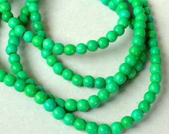 25 Kelly GREEN 4mm Natural Chalk TURQUOISE Beads - Round Opaque Natural Gemstone Bead - Instant Shipping - USA Seller - 5380