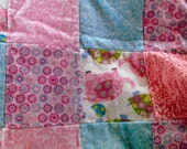 Baby Blanket - Baby Girl Quilted Minky and Flannel Receiving Blanket