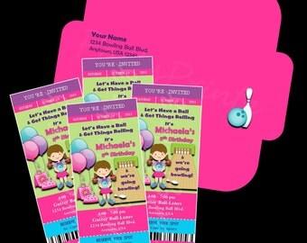 Printable - Bowling - Ticket Invitations &  Envelope - Custom Personalized Birthday