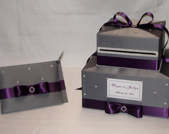 Elegant Custom made Wedding Card Box-matching Guest Book and Pen -any colors