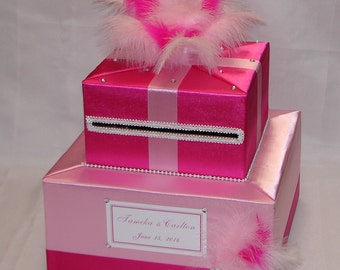 Pink and Fuchsia Custom made Wedding Card Box-Feathers-any colors