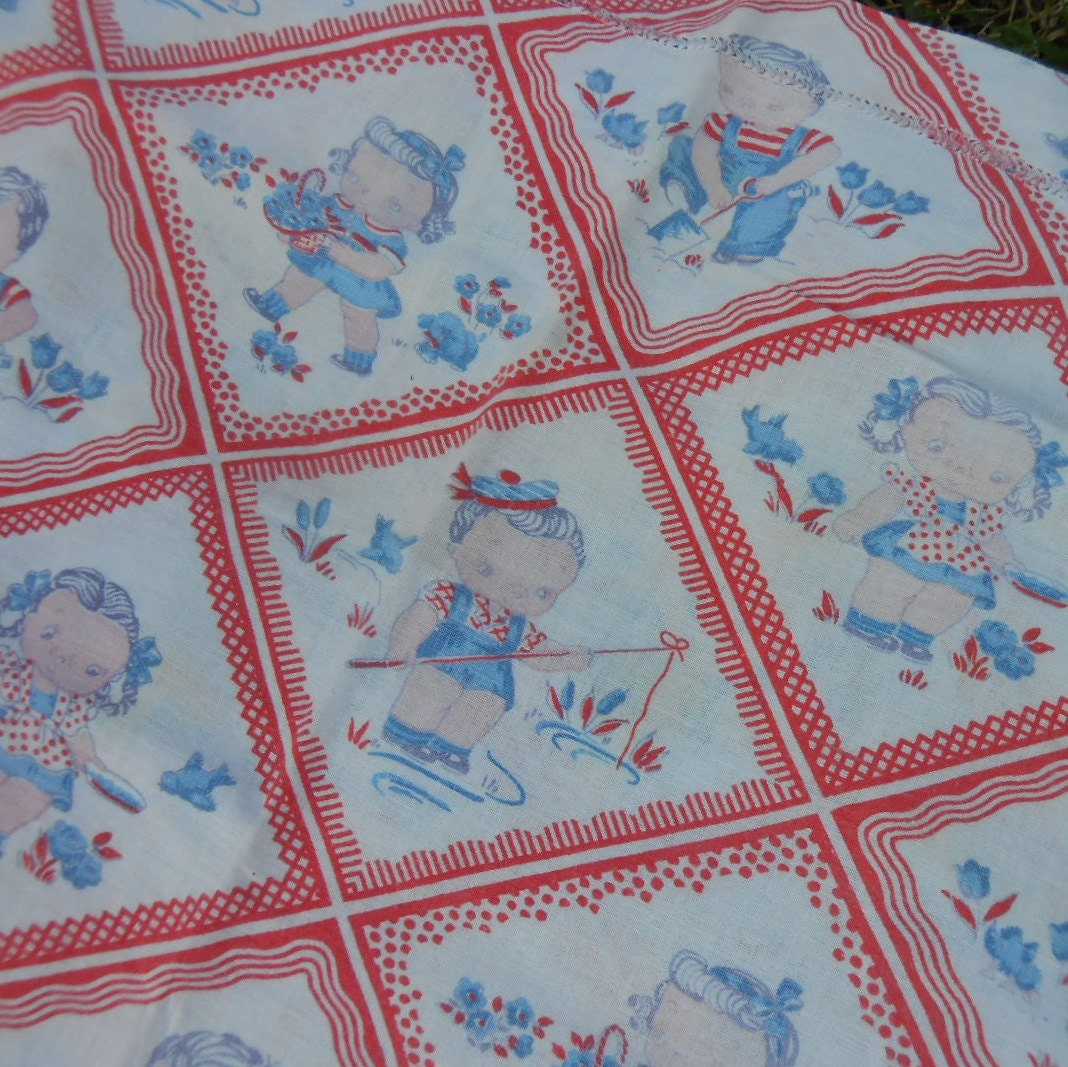 Vintage feed sack fabric print children red borders with blue for Vintage childrens fabric prints