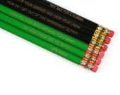 Aliens Ripley assorted engraved pencil set 6 in green and black. MATURE. Contains swears and saucy attitude.
